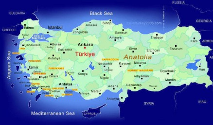 Tourist map of Turkey.