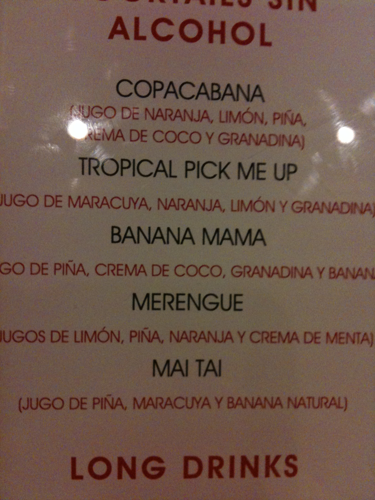 Drink Menu at the Riu Guanacaste