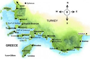 Turkey Sailing Area {focus_keyword} Blue Voyage Cabin Charter Turkey map greenblue