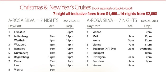 Christmas and New Years Holiday River Cruise {focus_keyword} Arosa European River Cruises for the Holidays Special Arosa Holiday2 2013
