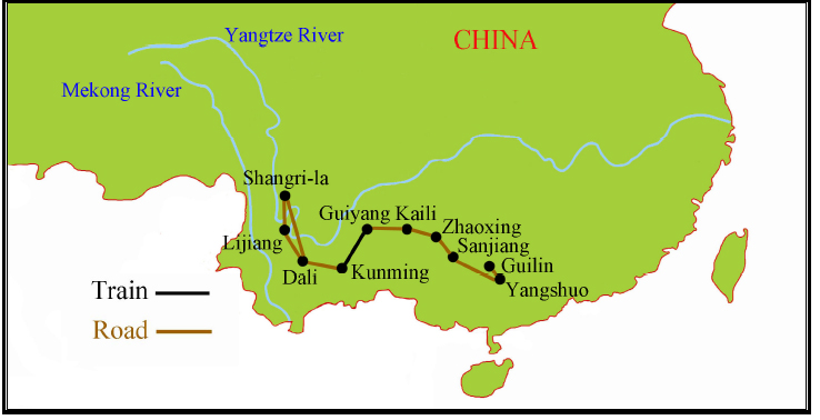 China Tour Map Guilin to Shangrila {focus_keyword} Spring 2014 Yunnan China Ethnic Discovery Tours China Ethnic Tour 2