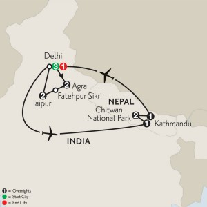 Delhi Jaipur Agra Nepal Tour Map {focus_keyword} India Golden Triangle & Nepal Tour IAIF