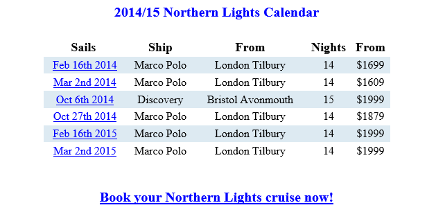 Northern LIghts Cruises Schedule {focus_keyword} Northern Lights Cruises from London Discounted Northern LIghts Cruises Schedule