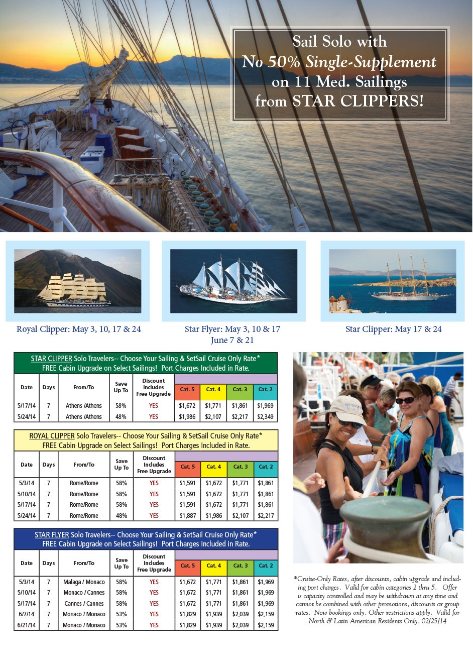 Star Clippers: No Single Supplements 2014 Mediterranean {focus_keyword} Star Clippers Mediterranean Sailings with Single Surcharges Waived Star Clippers singles 2014 Mediterranean