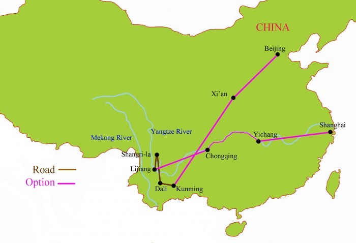 Yunnan, Yangtze, Beijing, Xian and Shanghai China Tour Map {focus_keyword} China Classic Tour with Yunnan Fall 2014 Yunnan Tour with Options