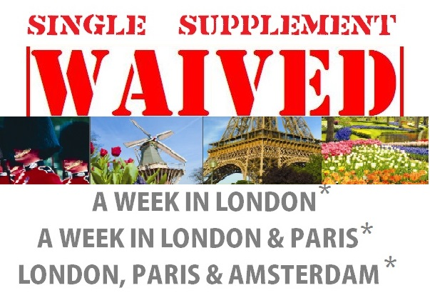 Single Supplements Waived London Paris Amsterdam