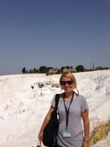 Aylin Sekban at Pamukkale Turkey footsteps of paul Footsteps of Paul Tour with Sailing Cruise Aylin Pammukkale