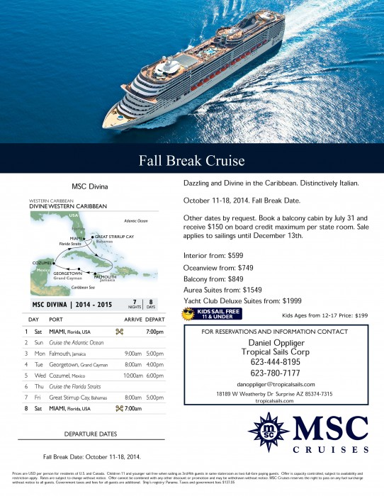 Fall Break Oct 11018, 2014 {focus_keyword} Fall Break Caribbean Cruise from MSC 2014 CA DI WEST HR danoppliger tropicalsails