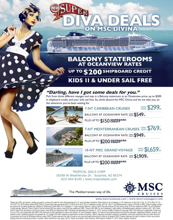 MSC Cruise specials from Tropical Sails Corp {focus_keyword} MSC Super Diva Deal SUPERDIVA