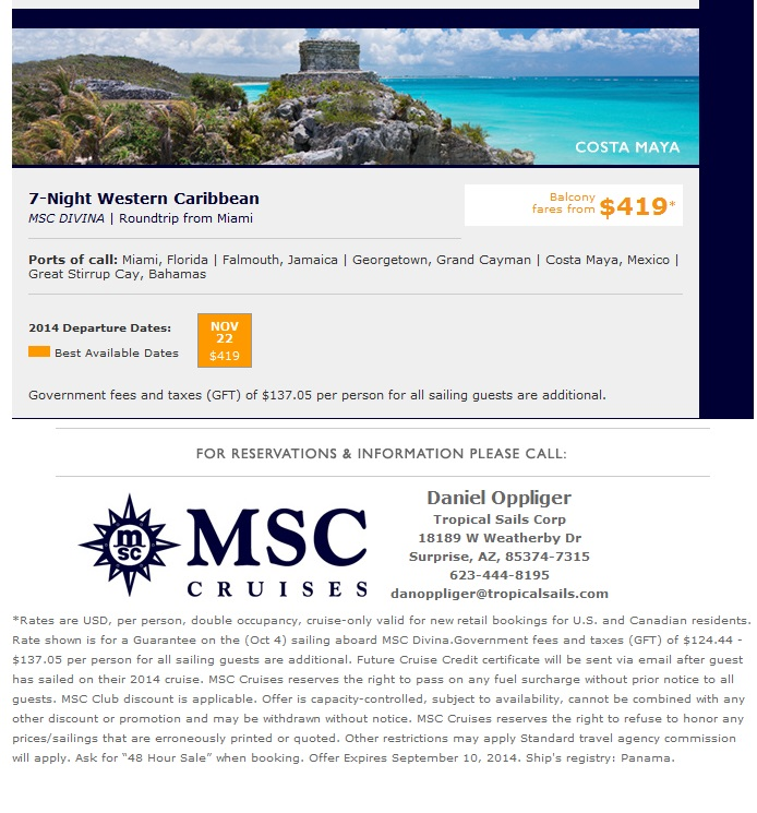 MSC Western Caribbean Thanksgiving caribbean cruise deals MSC Cruises Caribbean Cruise Deals MSC Western Caribbean Thanksgiving