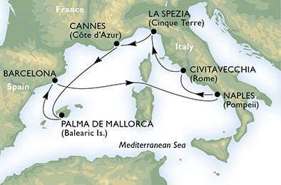 Rome 7 night map msc cruises MSC Cruises on Sale: Free Caribbean with Rome Divina Cruise Rome 7 night map
