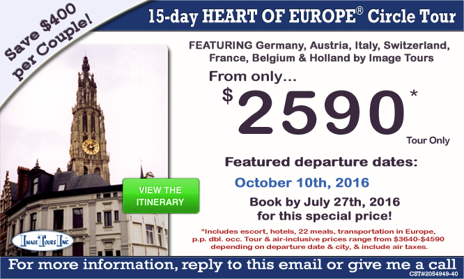 Heart of Europe 2016 Circle Tour europe vacation packages Europe Vacation Packages 2016 Heart of Europe 2016 Circle Tour