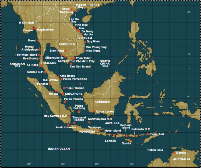 Southeast Asia Cruises Map asia cruises New Southeast Asia Cruises with Coral Expeditions Southeast Asia Cruises map