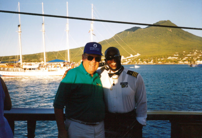 Bill Oppliger iwth Popeye 1998 solar eclipse cruise 1998 Solar Eclipse Cruise Windjammer S/V Polynesia Dad with Popeye
