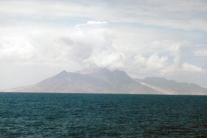 Montserrat Volcano which was erupting during our voyage 1998 solar eclipse cruise 1998 Solar Eclipse Cruise Windjammer S/V Polynesia Monserrat