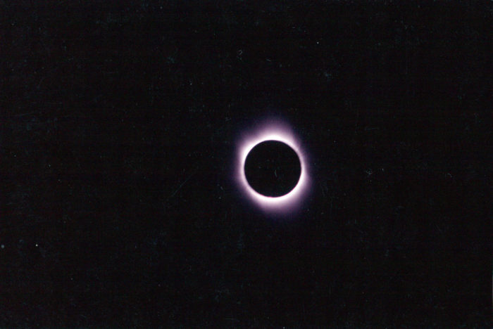 TSE February 26, 1998, shot with 1200mm lens wth film aboard the S/V Legacy 1998 solar eclipse cruise 1998 Solar Eclipse Cruise Windjammer S/V Polynesia TSE 1998