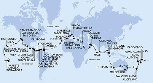 Around The World Cruise From MSC - Sydney map world