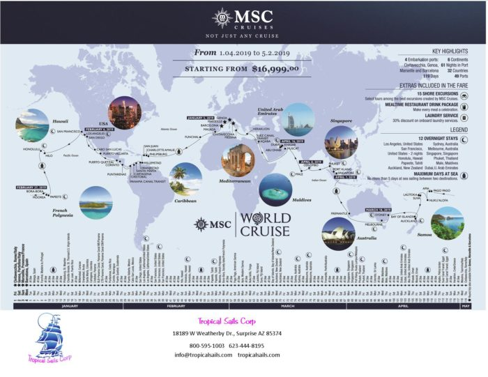 MSC Around the World Cruise Flyer Jan-May 2019 world cruise 2019 Around the World Cruise from MSC MSC Around the World Cruise Flyer front
