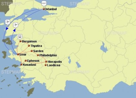 Seven Churches of Revelation Tour Map