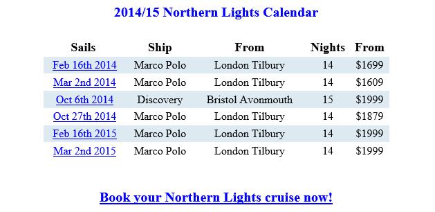 Northern LIghts Cruises Schedule {focus_keyword} Northern Lights Cruises  From London Discounted Northern LIghts Cruises Ideas