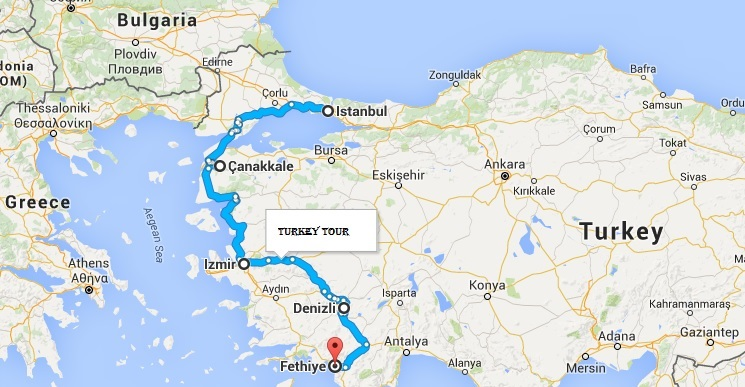 Tour of Turkey Map Tropical Sails Corp Travel Agency